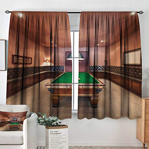All of better Modern Blackout Window Curtain Entertainment Room in Mansion Pool Table Billiard Lifestyle Photo Print Blackout Draperies for Bedroom 55