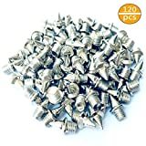 ACKLLR 120 Pieces 1/4 inch Steel Track Cross Country Spikes Replacement for Shoe Field Spikes, Silver Color