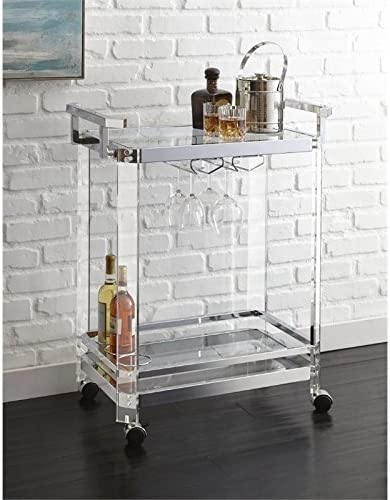 BOWERY HILL Acrylic Bar Cart in Chrome