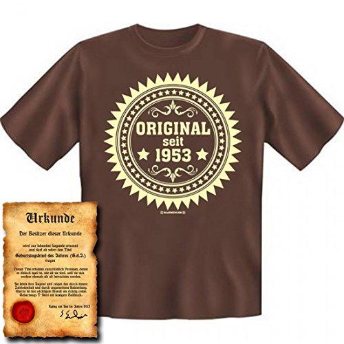 T-Shirt zum 62. Geburtstag - Original seit 1953 ! - Cooles Geschenk mit Urkunde !