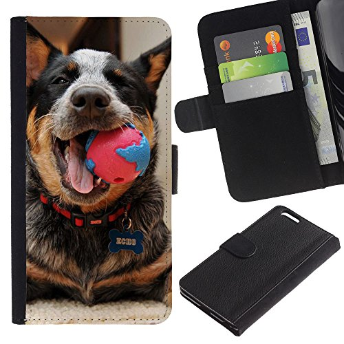 EuroCase - Apple Iphone 6 PLUS 5.5 - Australian cattle dog playing happy canine - Cuero PU Delgado caso cubierta Shell Armor Funda Case Cover