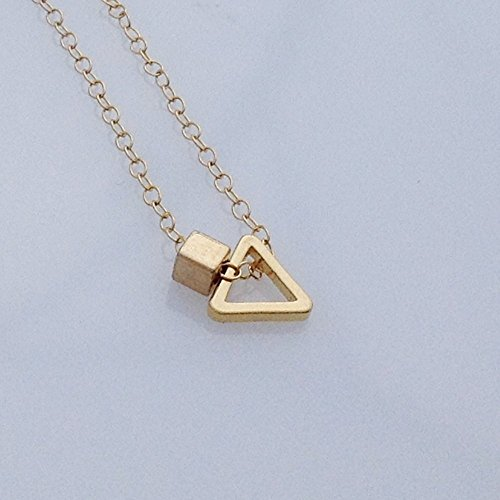 Geometric Necklace Triangle Square Pendant Chain 14k Gold Filled ()