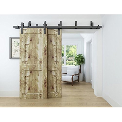 WINSOON 75FT Antique Bypass Double Sliding Barn Wood Door Hardware Cabinet Closet System Black