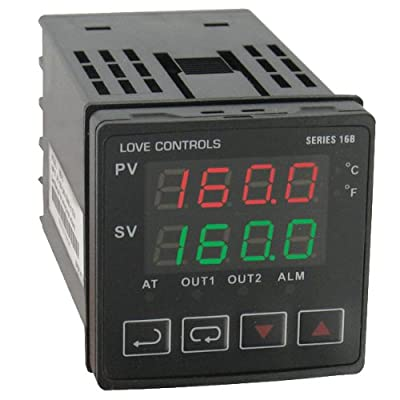 Love 1/16 DIN Temperature/Process Controller, 16B-33-LV, Relay Outputs 1 and 2, Low Voltage