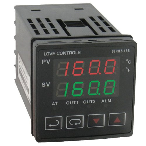 Dwyer Love Series 16B 1/16 DIN Temperature and Process Controller, Relay Outputs 1 and 2 (Temperature Controller Process)