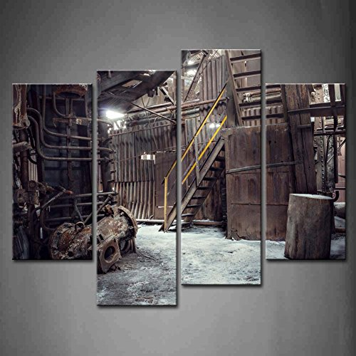 Amazon.com: First Wall Art   4 Panel Wall Art Abandoned Factory Industrial  Background Machine Messy Painting The Picture Print On Canvas Architecture  ...