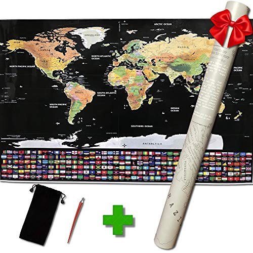 Extra Large Scratch Off Map of The World Poster - Premium Travel Gift for Globetrotters of All Types - with US States