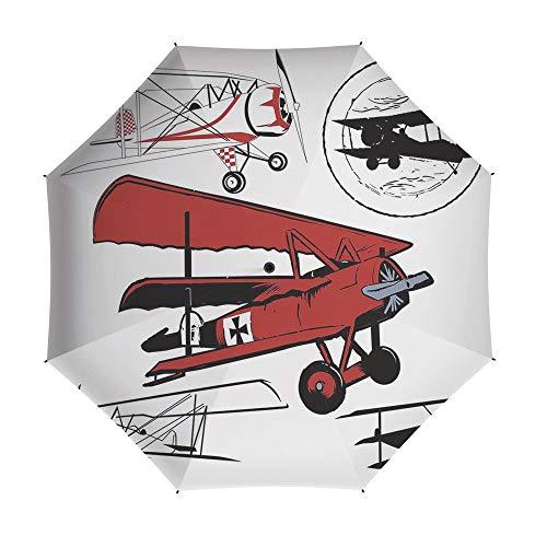 (Folding Umbrella,Vintage Airplane Decor,Auto Open Close Umbrella 42 Inch,Collection of Various Biplanes Nostalgic Antique Silhouettes )