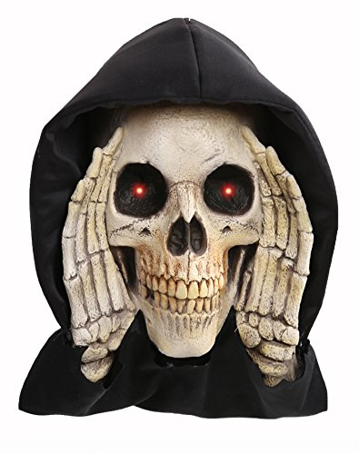 Halloween Scary Black Hooded Peeper Creeper Skeleton Grim Reaper with Red LED Lighted Eyes - Haunted House Window Cling Prop Decoration Display -
