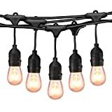 Mpow 49Ft Incandescent Outdoor String Lights, Commercial Globe Lights with 15 Edison Vintage Dimmable Bulbs, Weatherproof Connectable Hanging Strand for Bistro Porch Patio Garden Deck Cafe UL Listed