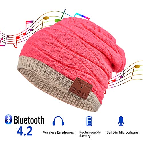 Pococina Upgraded 4.2 Bluetooth Beanie Music Hat Winter Knit Hat Cap Wireless Headphone Musical Speaker Beanie Hat as Christmas Birthday Gifts for Men Women Teen Girls Boys, Built-in Mic - YW4 Pink