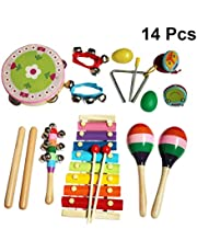 YeahiBaby 14pcs Musical Instruments Set Kids Percussion Rhythm Band Toy