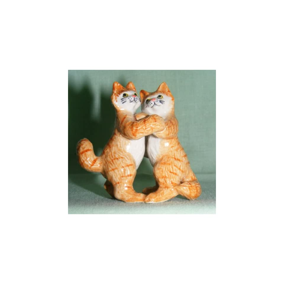 KLIMA Ginger CAT Tabby DANCERS on Hind Legs MINIATURE Porcelain #3 New FIGURINE K629C