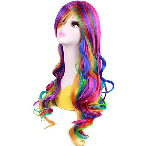 BERON 28 Inches Long Culry Rainbow Wig Girls Cosplay Party Wavy Wigs with Wig Cap (Multicolor) -