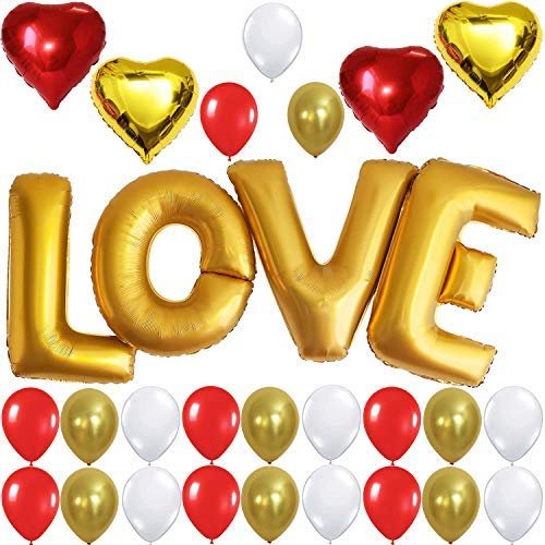LOVE Balloons, Gold - Large, 40 Inch - Helium Supported - Pack of 29 - Valentines Day Decorations and Gift for Him or Her - Red and Gold Foil Heart Balloons - Gold Red and White Latex Balloons]()