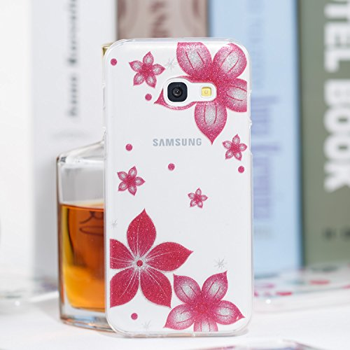 Samsung A3 2017 Funda, Galaxy A3 2017 TPU Case Cover, NEWSTARS Lujo Bling Bling Glamour Brillante Glitter Flamenco Unicornio Mariposa Flor Diseño Funda Carcasa Ultra Delgado Resistente a los Arañazos  B Glitter TPU 8