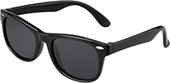 Kids Sunglasses For Kids Polarized Sunglasses Girls Child Boys Age 3-10 (Pink frame cyan legs) (Rubberized Black |Black Lens, 2.05)