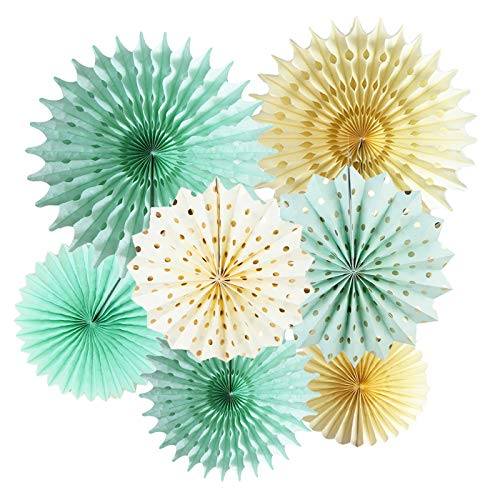 Mint Gold Party Decorations Mint Cream Gold Polka Dot Paper Fans for Trial Baby Shower Decorations Mint Gold Wedding/Mint First Birthday Bridal Shower -