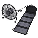 Vbestlife Solar Panel Powered Fan,7W 5.5V Outdoor Portable Camping Fan USB Cooling Fan Solar Power Folding Bag Phone Charger for Travel Camping Fishing