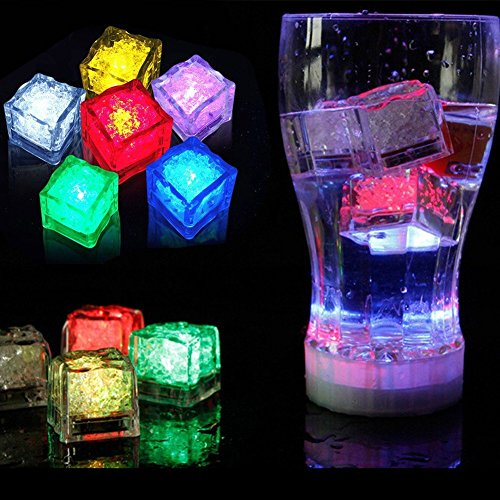 Geekercity 12 Pack Multicolor Light Decorative LED Liquid Sensor Ice Cubes Shape Lights Submersible LED Glow Light Up for Bar Club Wedding Party Champagne Tower Decoration Flash (Glow In Dark Ice Cubes)