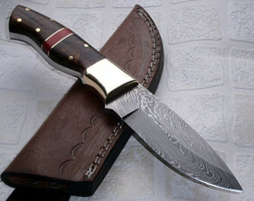 Poshland Sk-197, Custom Handmade Damascus Steel Bushcraft Knife - Stunning Easy Grip Handle