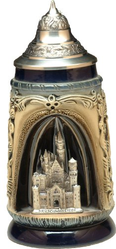 Beer Stein by King - Romantic Sites Newschwanstein Castle German Beer Stein (Beer Mug) 0.5l (1/2 Liter German Beer)