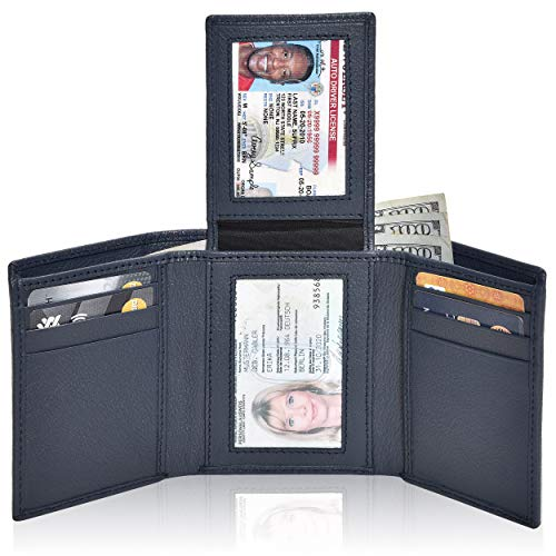 RFID Leather Trifold Wallets - Handmade Slim Mens Wallet Credit Card Holder with ID Window (Navy Nappa)