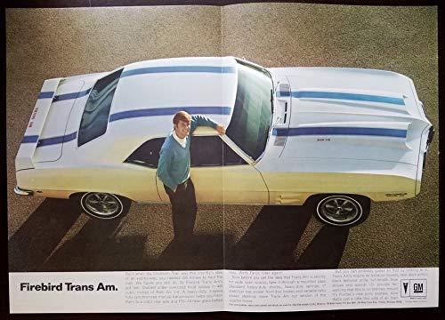 Magazine Print Ad: 1969 Pontiac Firebird Trans Am, White with Blue Stripe, 400 cubic inch V-8 Ram Air,