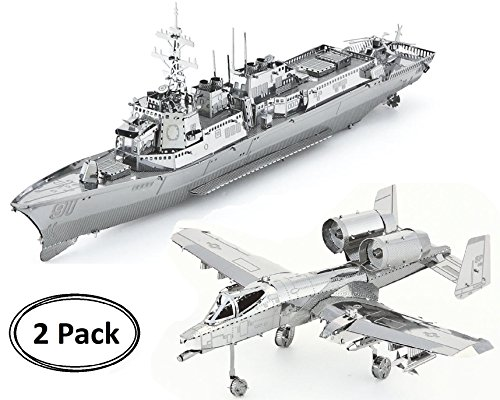 3D Metal Puzzle Models Of Burke Class Destroyer Ship And A-10 Warthog Airplane - DIY Toy Metal Sheets Assembling Puzzle, 3D puzzle – 2 - 2 Puzzle Pack