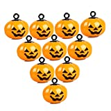 IDOXE 10Pcs Mini Pumpkin Bells Jack O Lantern Head Jingle Beads DIY Halloween Decorations Ornament Jewelry Findings Charms Pendant