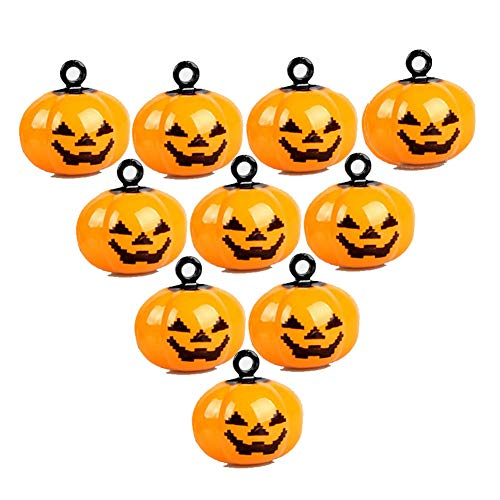 IDOXE 10Pcs Mini Pumpkin Bells Jack O Lantern Head Jingle Beads DIY Halloween Decorations Ornament Jewelry Findings Charms Pendant ()