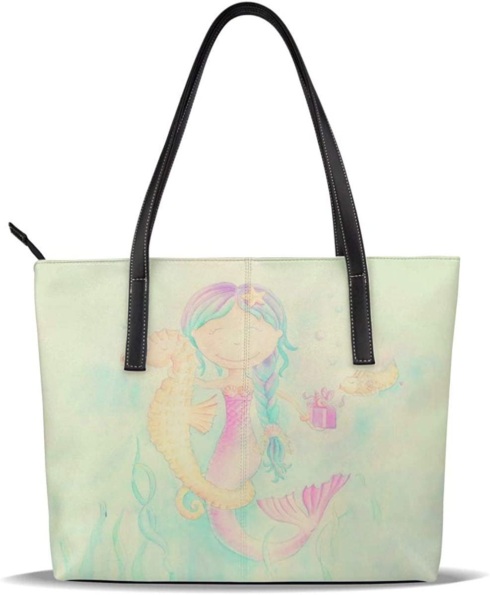 Blue Mermaid Pink Sea Horse Seahorse PU Leather Printed Pattern Casual Handbags Shoulder Tote Bag Purse For Women Girls Vintage Tote Shopping Bags