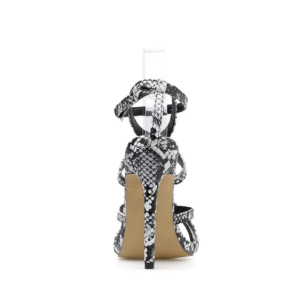 FengJingYuan Damensandalen - Spitzen Schlangen Leopard Print Sexy Cross Cross Cross mit römischen Damenschuhen  9cb5c6