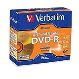 Verbatim DVD-R 4.7GB 8X UltraLife Gold Archival Grade - Branded Surface & Hard Coat - 5pk Jewel Case - 96320