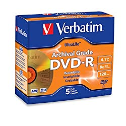 Verbatim Ultralife 4.7gb 8x Gold Archival Grade Dvd-r, 5-disc Jewel Case 96320