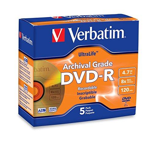 (Verbatim DVD-R 4.7GB 8X UltraLife Gold Archival Grade - Branded Surface & Hard Coat - 5pk Jewel Case - 96320)