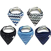 FINDUQ BABY Baby's Bandana Drool Bibs, Unisex Gift Set for Drooling and Teething, 100% Organic Cotton, Soft and Absorbent for Boys and Girls, Medium, Blue, 5 Piece