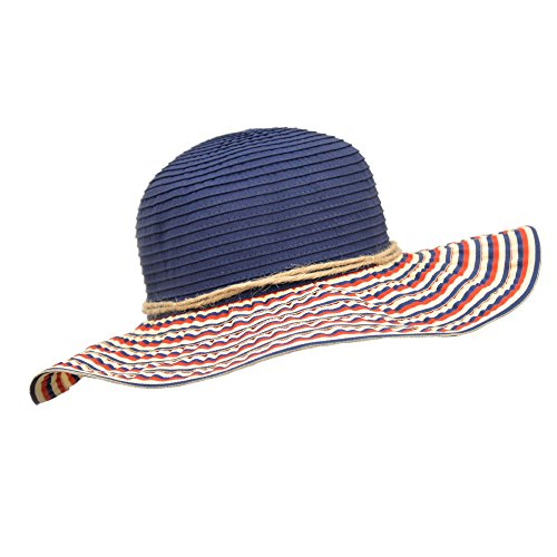 (UPF 50+ Sun Hat with Navy Crown and Red White Blue Stripes)