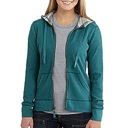 Carhartt Women\'s Meadow Waffle Knit Zip Front Hoodie, Teal Blue Heather, Small