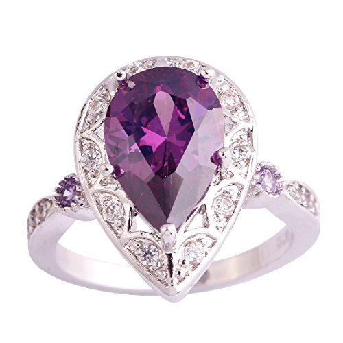 Psiroy 925 Sterling Silver Created Amethyst Filled Pear Shaped Halo Anniversary Ring