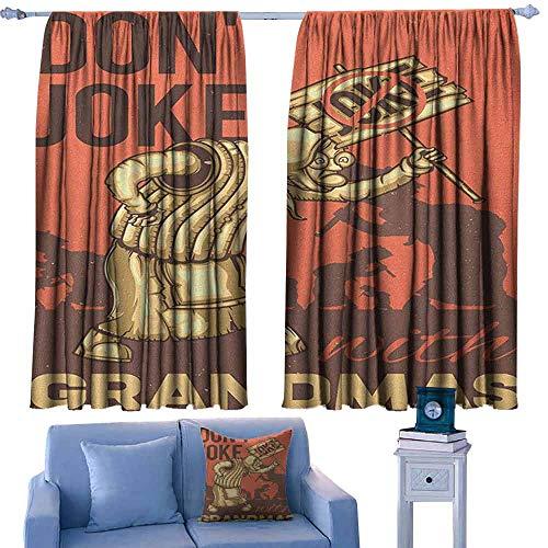 ParadiseDecor Grandma Boys Bedroom Backout Curtains Dont Joke with Grandmas Quote Cartoon Protesting Elderly Woman,Printed Kids Nursery Curtain,W42 x L54 Inch