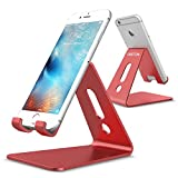 [Updated Solid Version] OMOTON Desktop Cell Phone Stand Tablet Stand, Advanced 4mm Thickness Aluminum Stand Holder for Mobile Phone (All Size) and Tablet (Up to 10.1 inch), Red