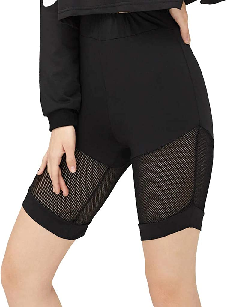High Waited Mesh Patchwork Tummy Control Workout Yoga Pants iCJJL Womens Mid Thigh Spliced Leggings