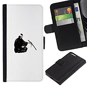 YiPhone /// Tirón de la caja Cartera de cuero con ranuras para tarjetas - Samurai japonés - Apple Iphone 6 PLUS 5.5