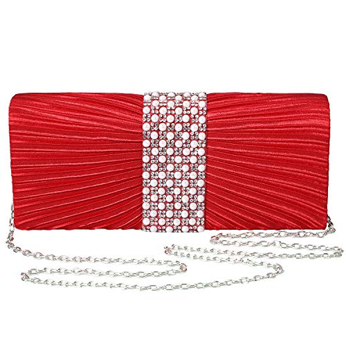 with Pearl and Diamond Evening Handbag for Party Cocktail Wedding Purse Wallet Bag(RED) ()