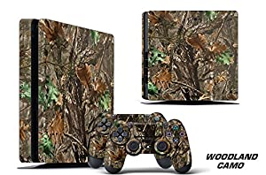 Designer Decal for PlayStation 4 SLIM System plus Two (2) Decals for PS4 Dualshock Controller - Woodland Camo