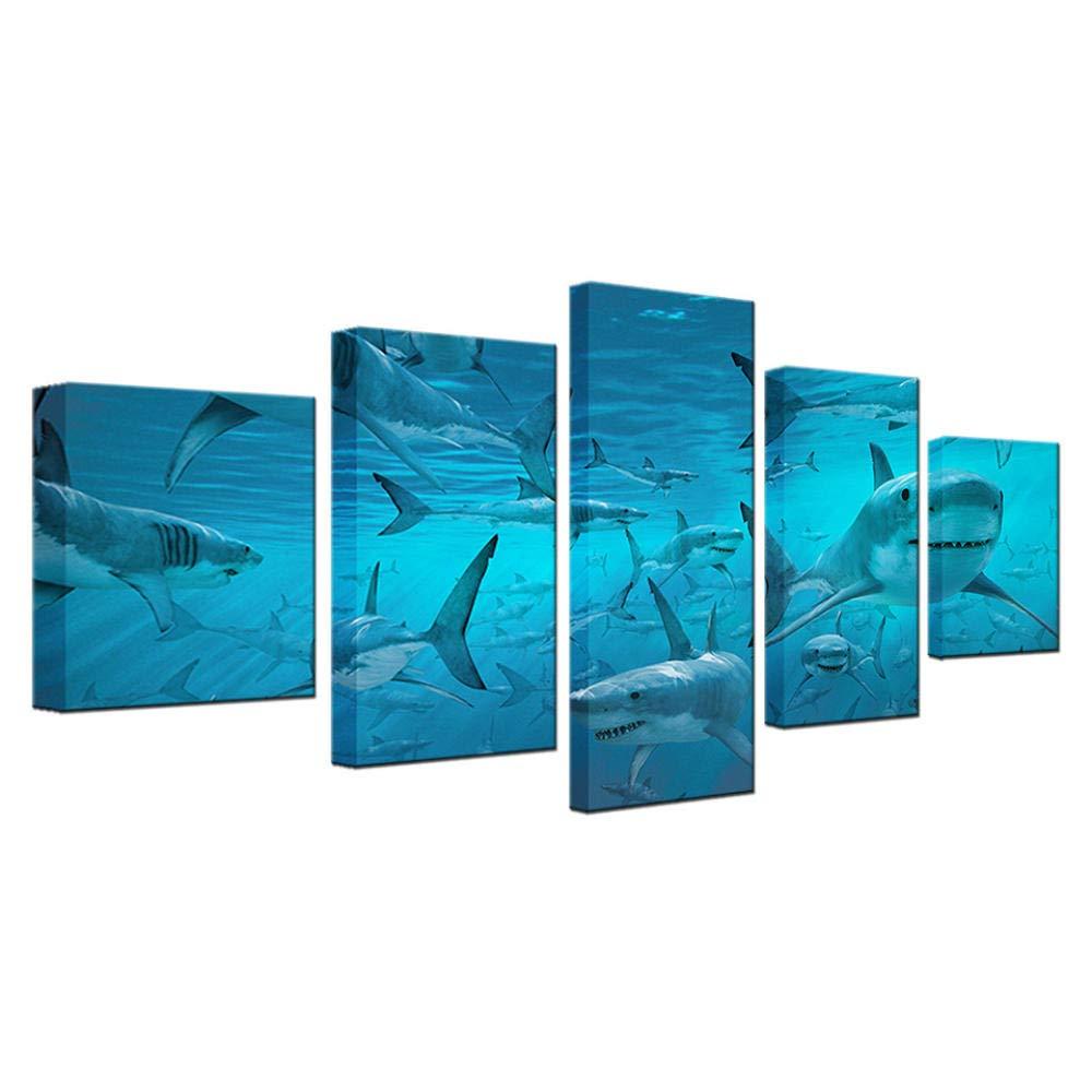 Celi Canvas prints Impresiones En Lienzo Delfines De Mar Profundo 5 Piezas 100X50Cm Moderno De La Parojo Imagen Abstracta Arte Pop Pintura Image Foto Sala Estar del Baño,Marco