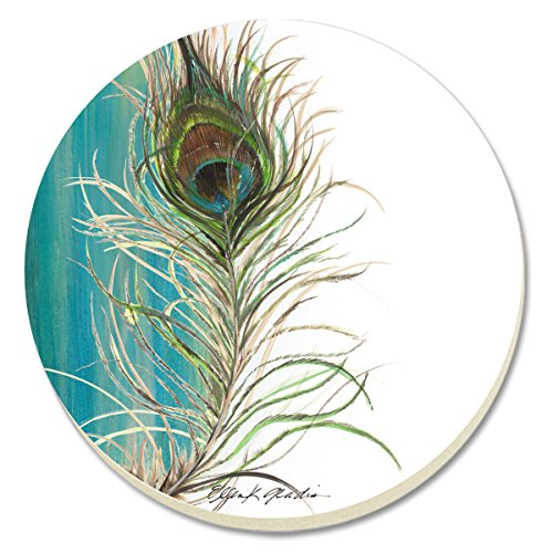 Peacock Coasters (CounterArt Elegant Peacock Absorbent Coasters, Set of 4)