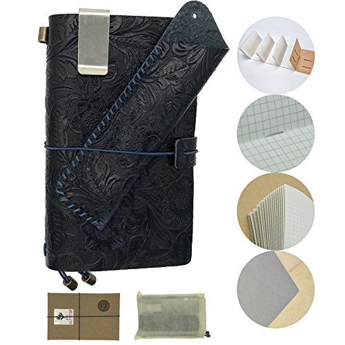 Embossing Leather Journal Notebook Set (Dark Blue, Deep Green) - Genuine Leather Cover, 3 Refillable Paper, Multiple Accessoires (Dark Blue)