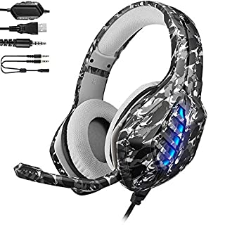 YJY J1 Gaming Headset for PS4,PC, Xbox One Controller,Noise Cancelling Over Ear Headphones with Mic, 7 Colors LED Light, Bass Surround, Soft Memory Earmuffs for Laptop Mac Nintendo Switch Games,Coma